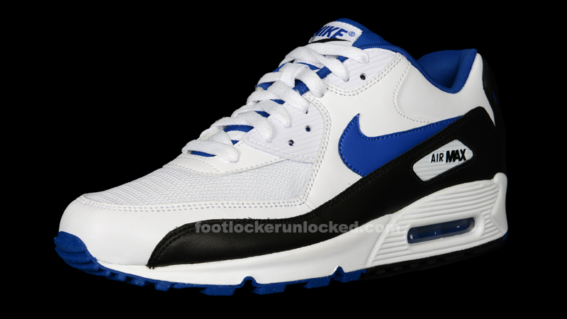 white and blue nike air max 90